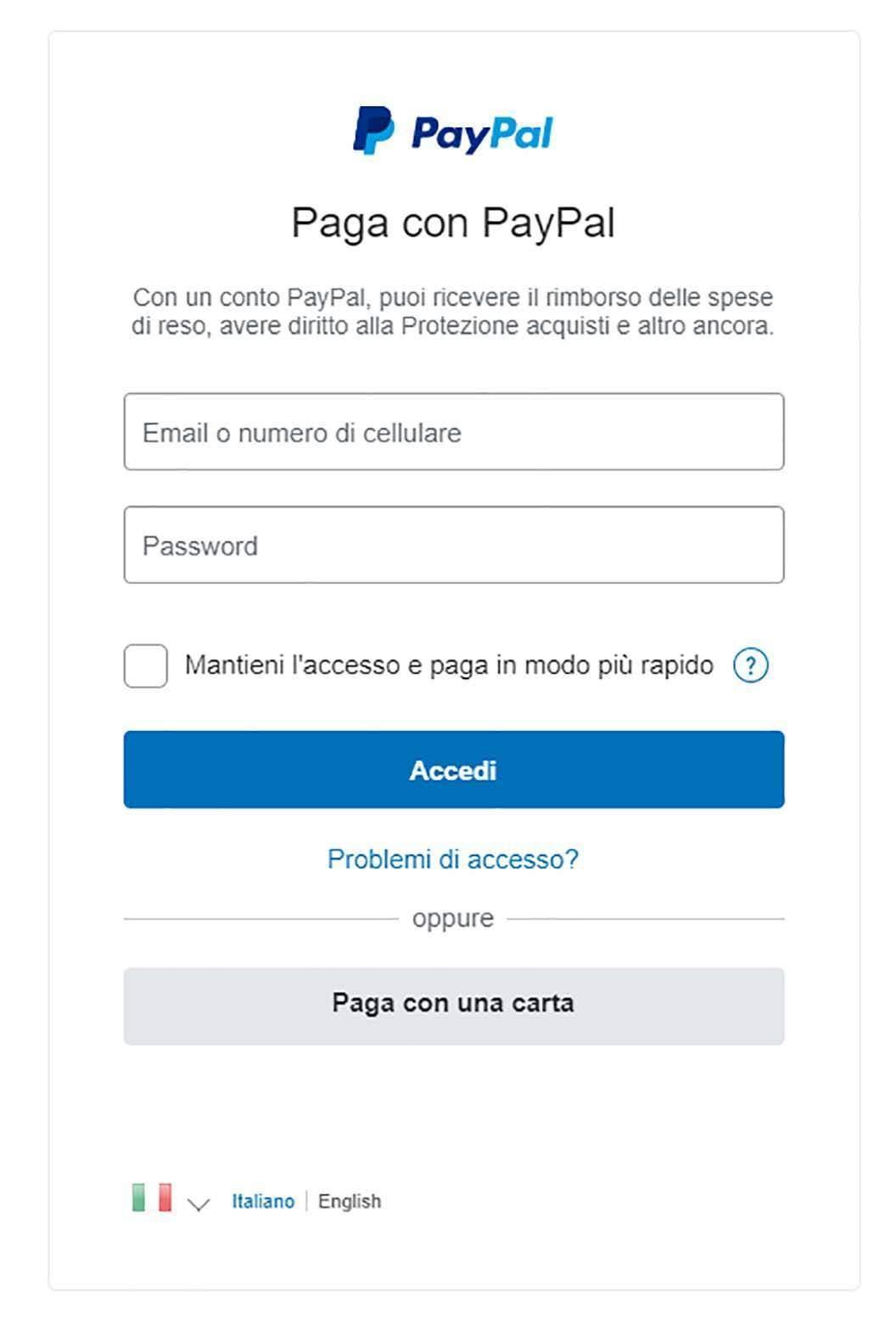 Maschera PayPal